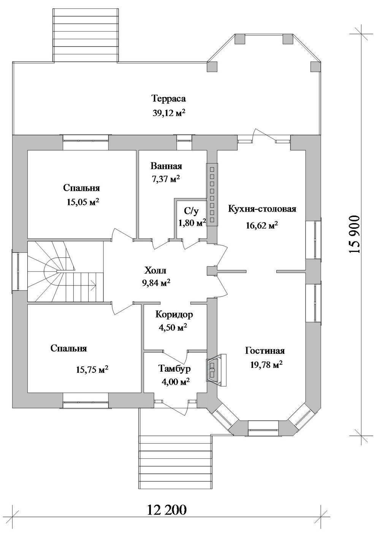 Гравитон D-112. Проект одноэтажного дома с цоколем, двумя спальнями и эркерной террасой