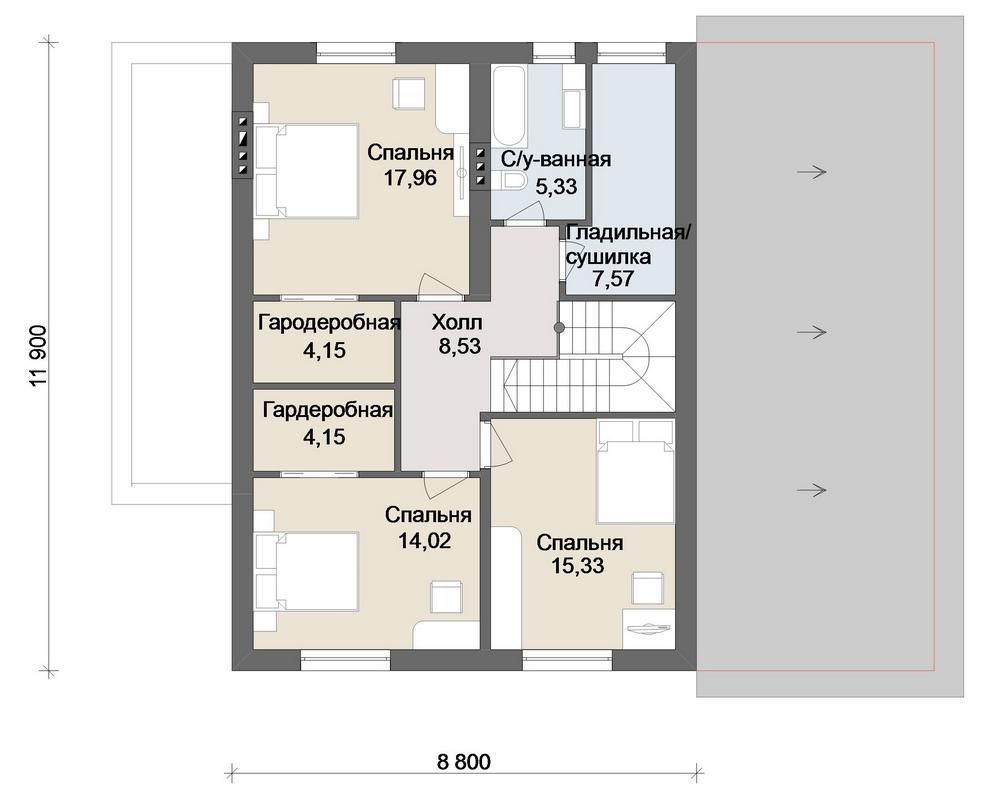 Гретта D-105. Проект дома на 4 спальни, с мансардой, гаражом
