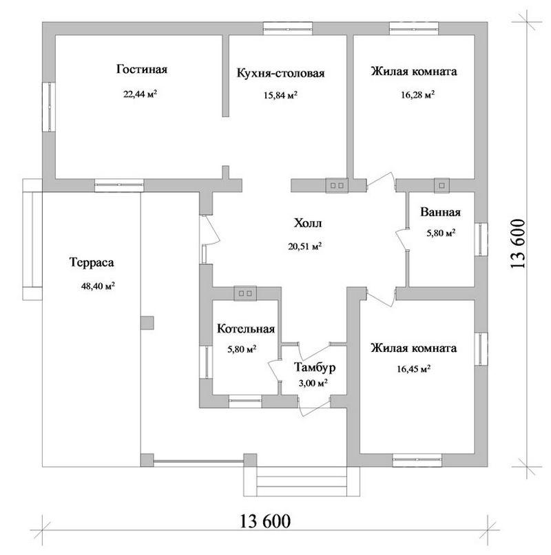 Grey Star C-102. Проект одноэтажного дома на 2 спальни с террасой