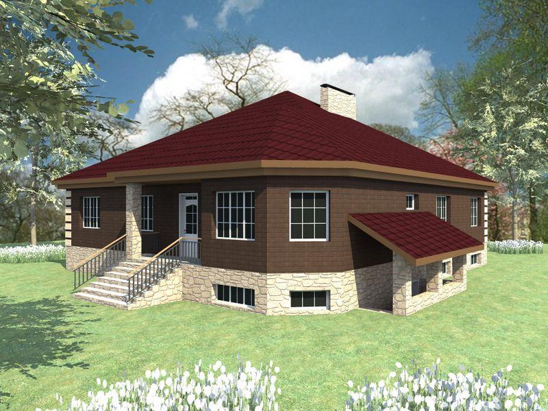 Грильяж F-047. Проект одноэтажного дома с цокольным этажом, на 4 спальни