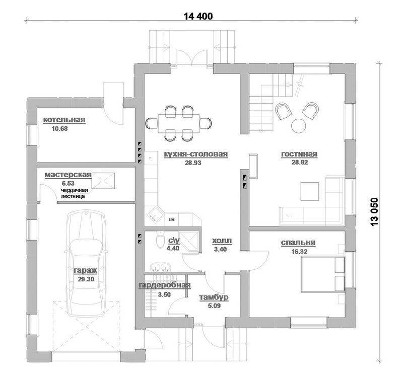 ГРОССМАН D-077. Проект двухэтажного фахверкового дома на 4 спальни, с гаражом