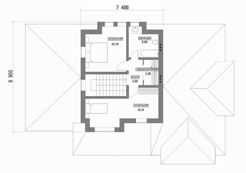 Грозовой перевал B-171 с видеообзором. Проект двухэтажного дома на 3 спальни + кабинет, с навесом для авто