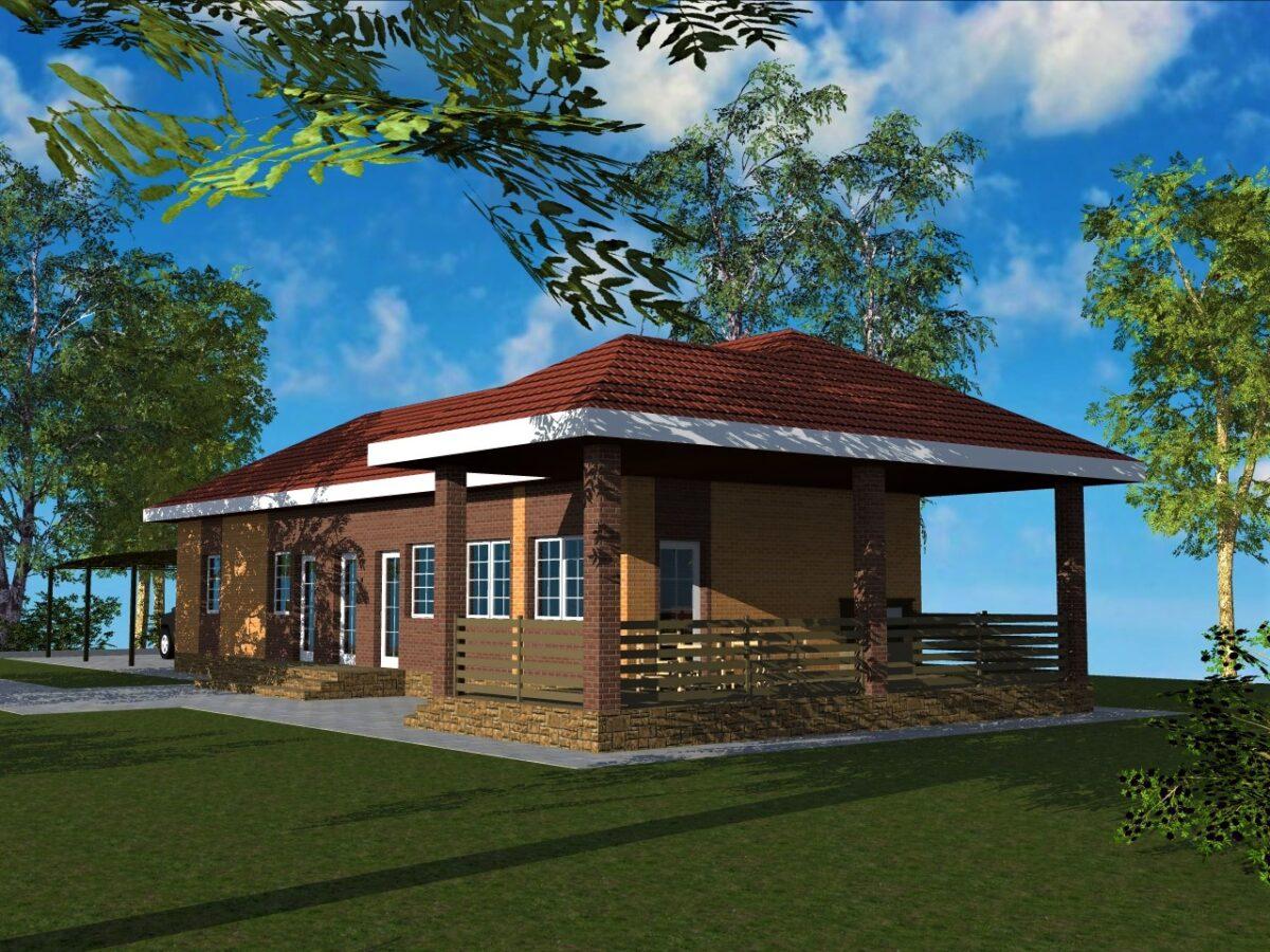 Грум G-070. Готовый проект универсальной хоз. постройки с гаражом, парилкой и террасой