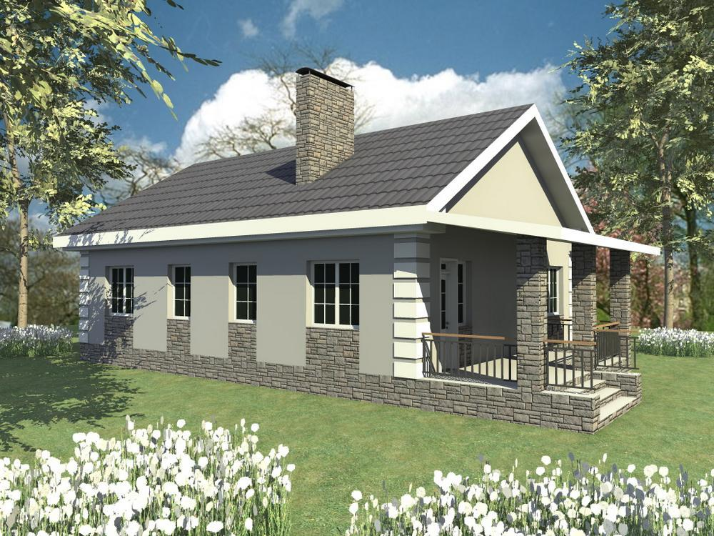 Ханум B-218. Проект одноэтажного дома на 2 спальни, с террасой