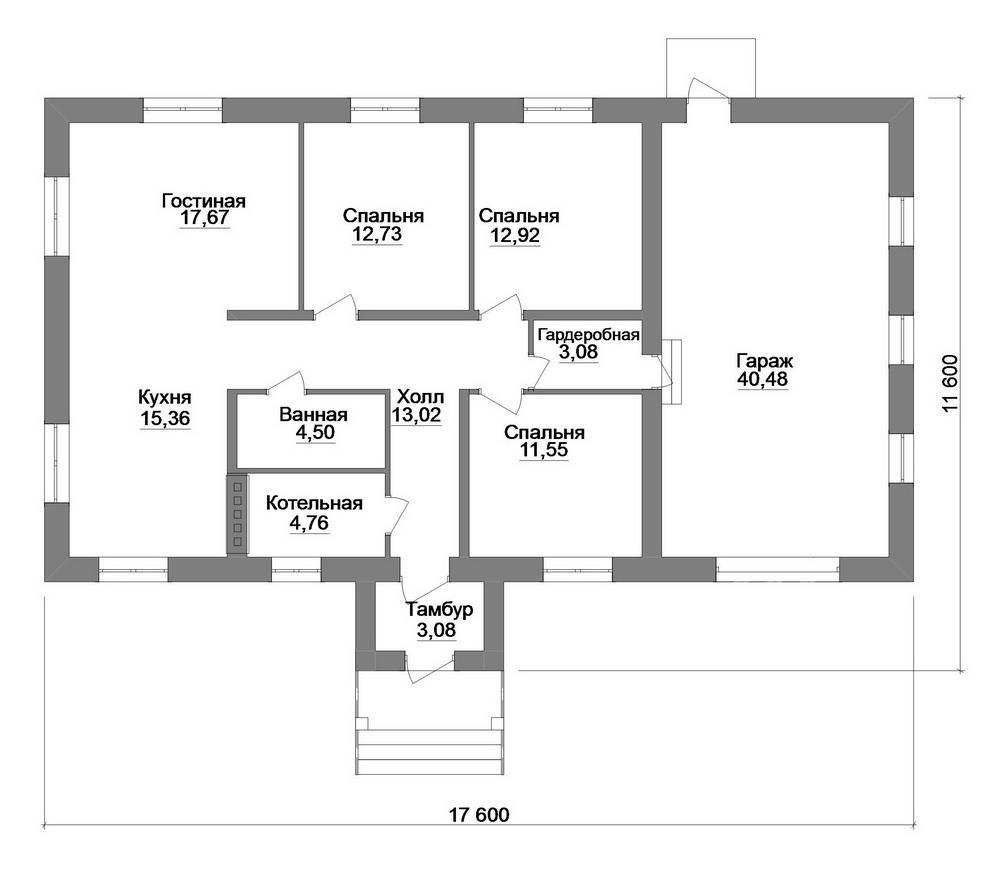 Харон B-224. Проект одноэтажного дома с тремя спальнями и гаражом