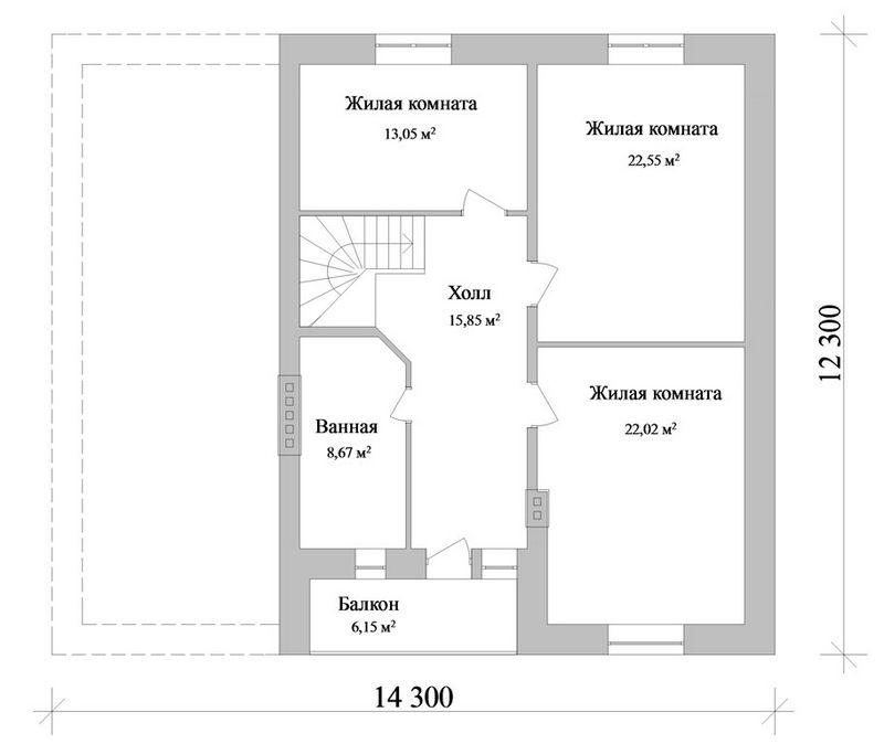 ХЕДИВ D-044. Проект мансардного коттеджа на 3 спальни, с гаражом