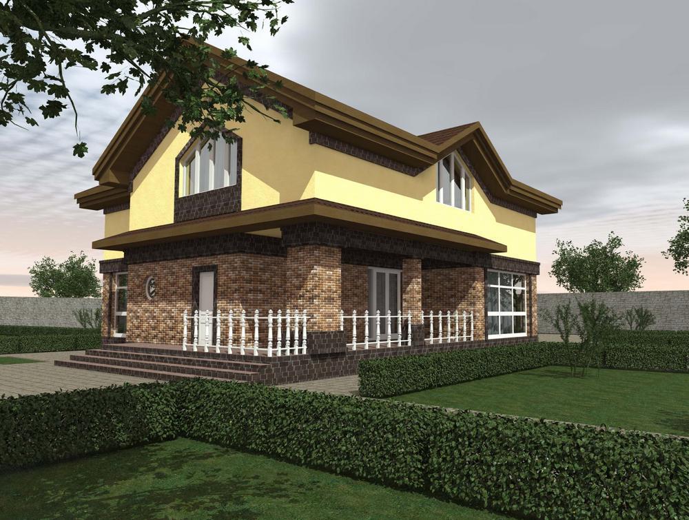 Хельга E-044 с видеообзором. Проект красивого мансардного дома с четырьмя спальнями и гаражом