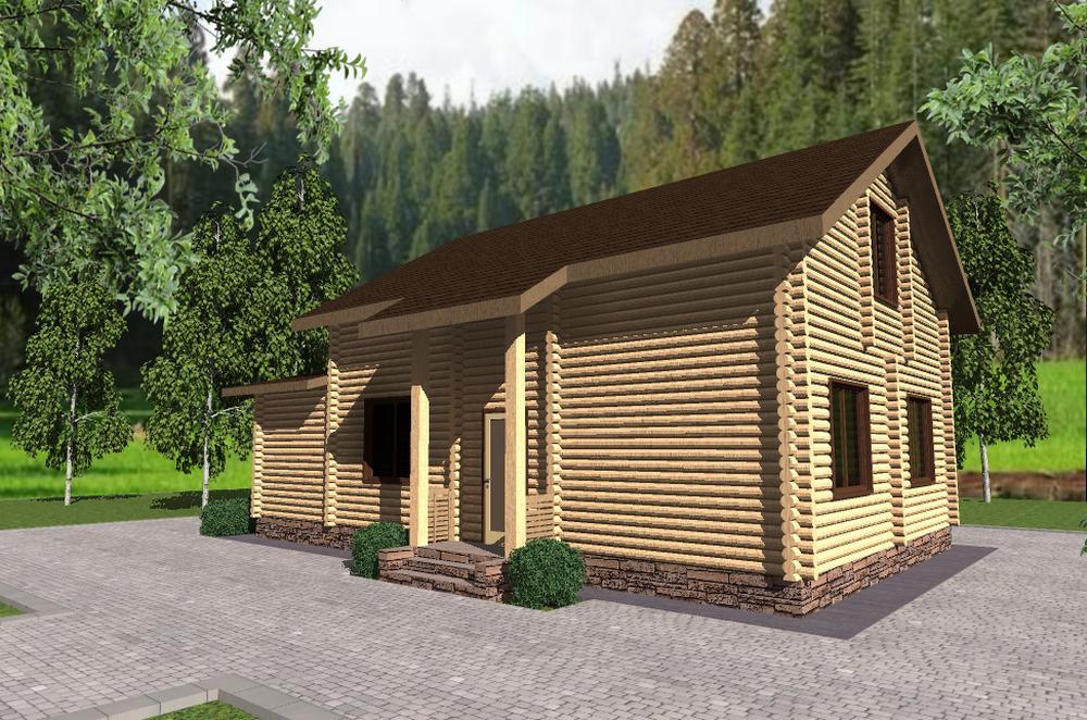 Хижина лесника B-247. Проект дома из бруса с мансардой, тремя спальнями и террасой
