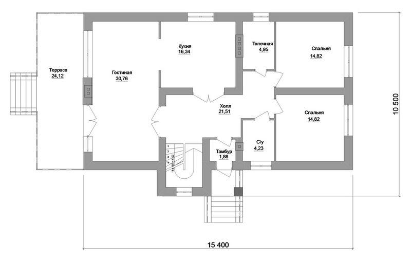 Хёрд D-063. Проект мансардного коттеджа на 4 спальни, с террасой