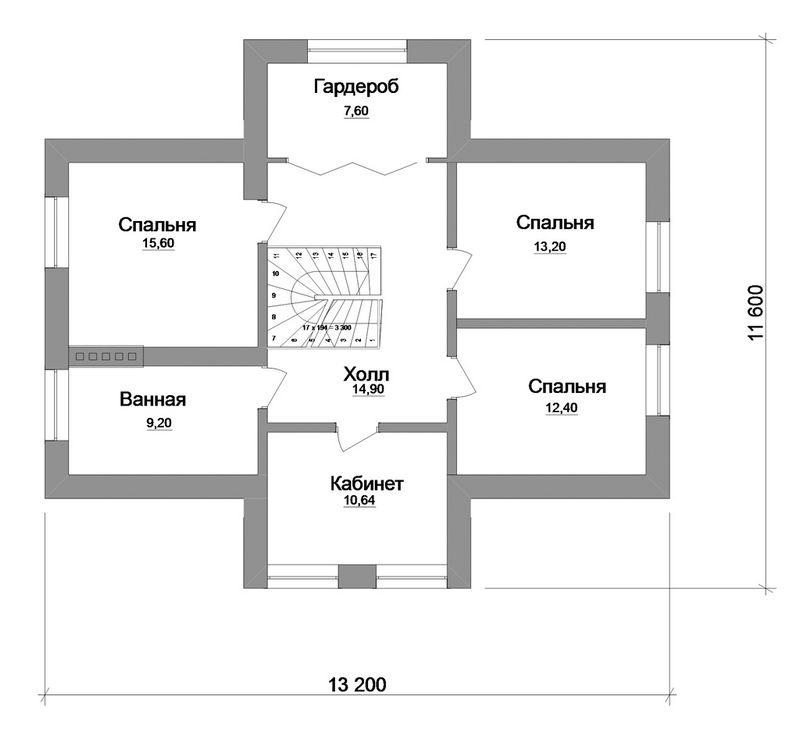 ХЛОЯ C-138. Проект мансардного коттеджа с мезонином, с необычной планировкой, на 4 спальни