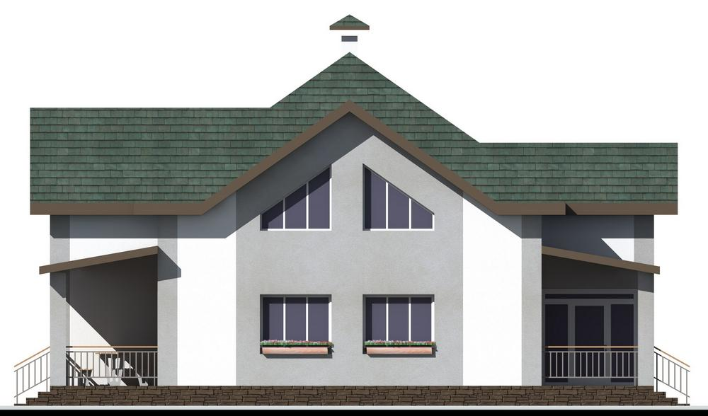 Холодное сердце E-056. Проект дома с мансардой, тремя спальнями и террасой