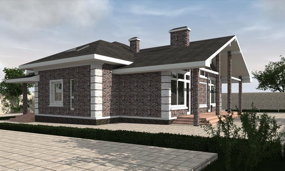 Хром E-042. Проект одноэтажного дома с мансардой, гаражом и подвалом, четыре спальни