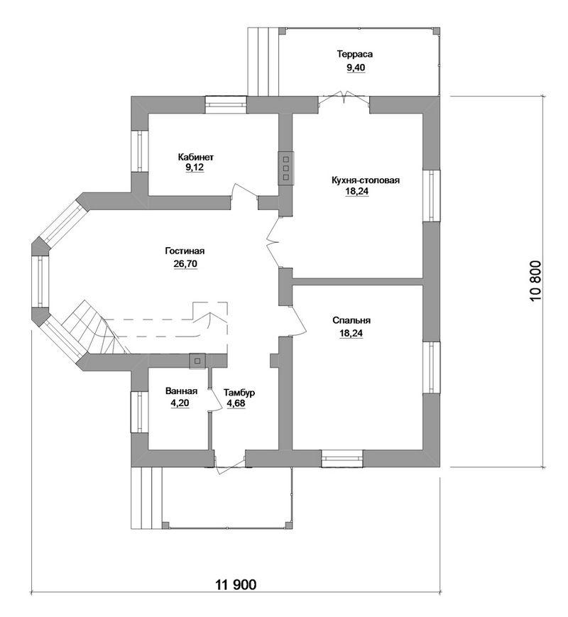 Иллюстратор C-161. Проект мансардного коттеджа на 3 спальни, с кабинетом, террасой, вторым светом