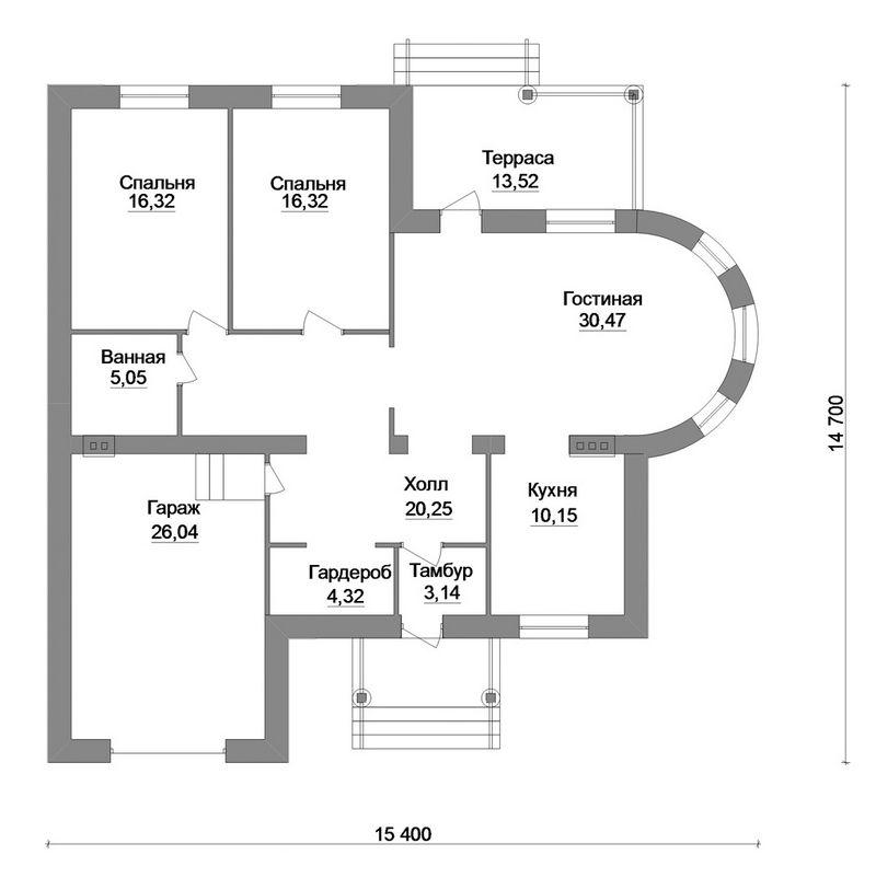 Илунга B-142. Проект одноэтажного коттеджа на 2 спальни, с террасой и пристроенным гаражом