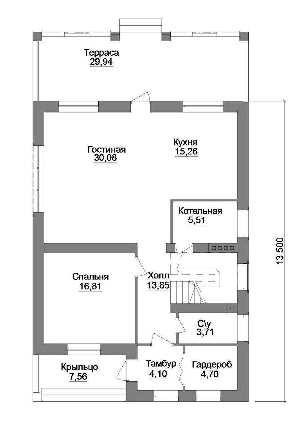 Имбирь D-102. Проект дома с мансардой, четырьмя спальнями и террасой