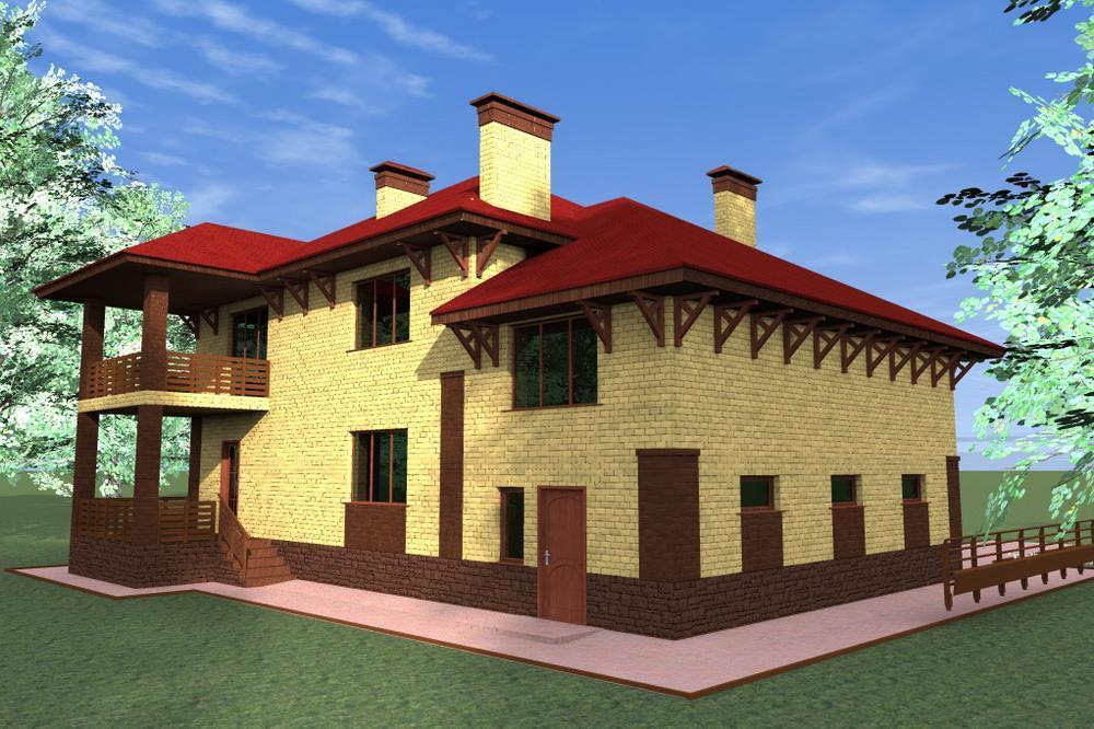 Император E-031. Проект большого двухэтажного дома на 5 спален, с гаражом