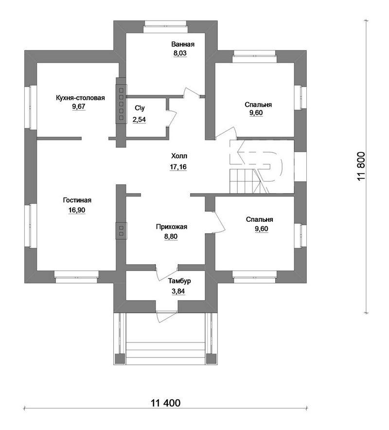 Интурист C-150. Проект 1-этажного мансардного дома на 5 спален