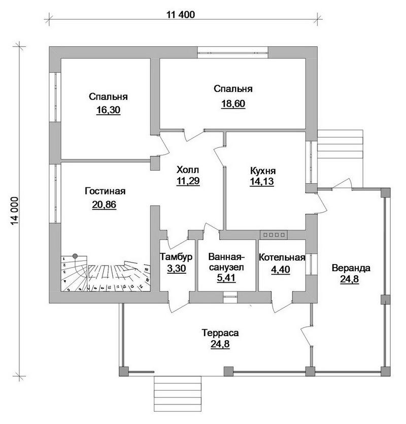 Ирида D-072. Проект мансардного коттеджа на 4 спальни, с верандой, террасой и бильярдной