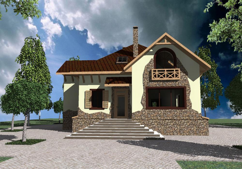 Ирландец E-051. Проект дома с мансардой, цокольным этажом, баней и террасой
