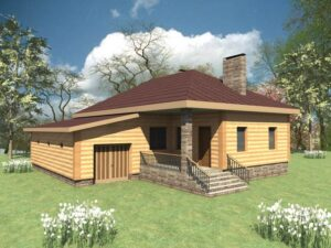 IZBA B-071. Проект одноэтажного дома на 2 спальни с пристроенным гаражом