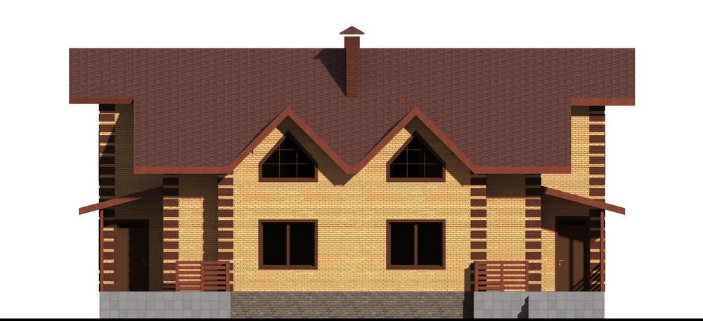 ИЗЛОМ D-047. Проект мансардного коттеджа с террасой, на две семьи