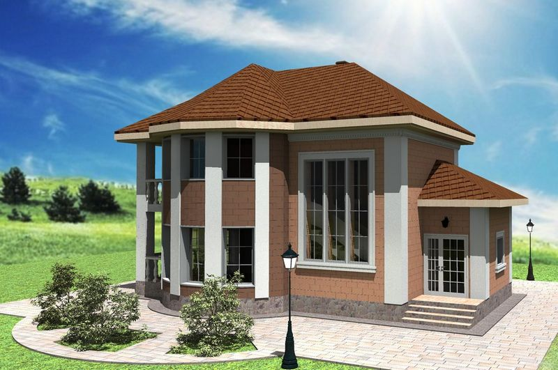 Иззи B-167. Проект двухэтажного эркерного дома на 2 спальни, с балконом и террасой