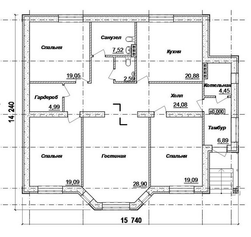 Ясная поляна C-135. Проект одноэтажного дома на 3 спальни, гостиная с эркером