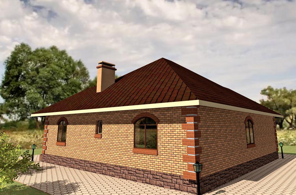 Кафана B-141. Проект одноэтажного коттеджа с тремя спальнями