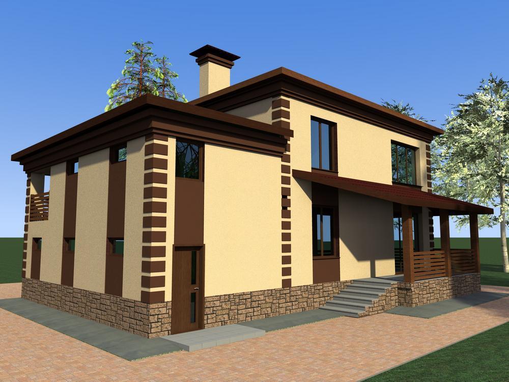 Каффа D-065. Проект двухэтажного коттеджа с гаражом, террасой, на 4 спальни