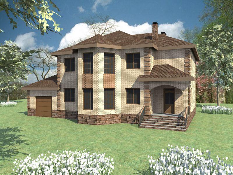 Каймакам D-061. Проект красивого двухэтажного коттеджа на 3 спальни, с гаражом и зимним садом