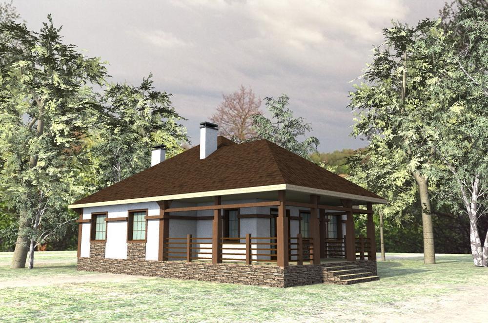 Калабос B-139. Проект одноэтажного коттеджа на 3 спальни, с угловой террасой