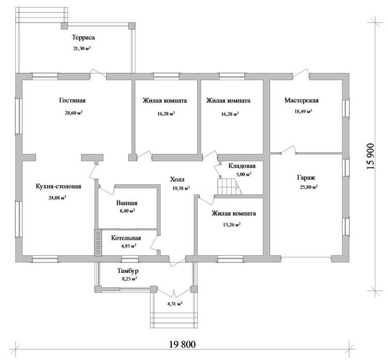 Калькутта E-026. Проект мансардного дома на 6 спален, с гаражом, мастерской и террасой