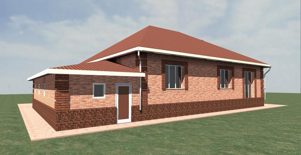 Каллиопа C-155. Проект одноэтажного дома на 2 спальни, с пристроенным гаражом