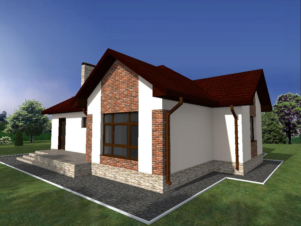 Кантата B-239. Проект одноэтажного дома на 3 спальни, с террасой