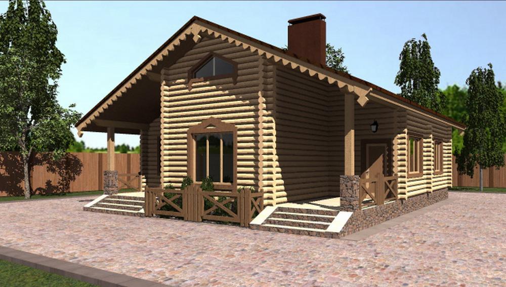 Кантри B-241 с видеообзором. Проект одноэтажного дома с тремя спальнями, гостиной и террасой