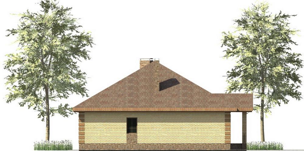 Канзас C-243. Проект одноэтажного дома с тремя спальнями, большой террасой и столовой с эркером