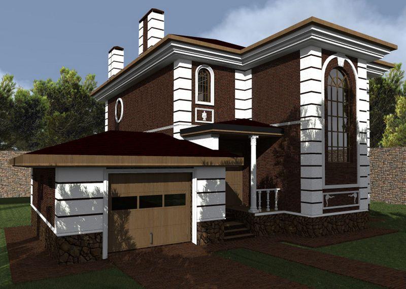 Каракас E-041. Проект двухэтажного дома на 3 спальни, с цокольным этажом, баней, террасой