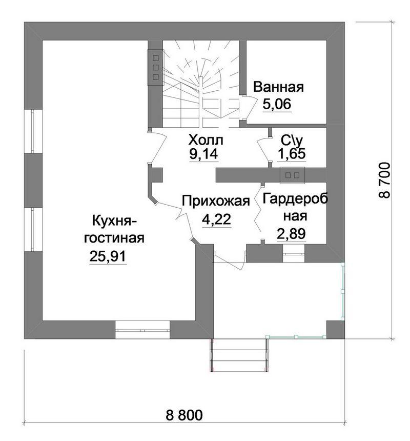 Каракум A-050. Проект небольшого коттеджа с мансардой, на 3 спальни