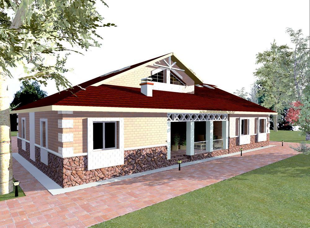 Караван F-053. Проект большого одноэтажного дома на 4 спальни с террасой и бильярдной на мансарде