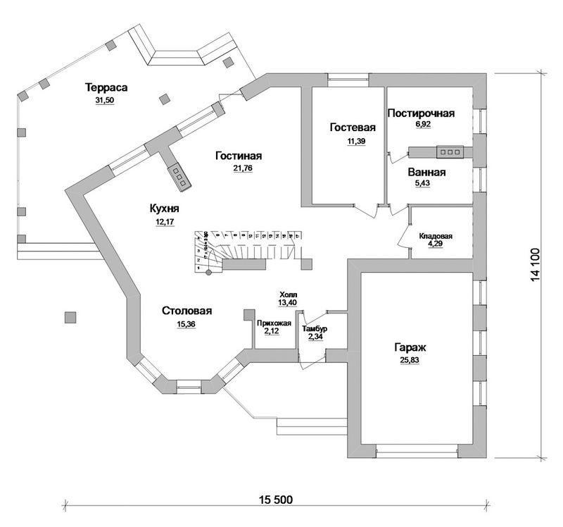 Карлов Двор D-057. Проект мансардного дома нестандартной формы, на 3 спальни, с гаражом