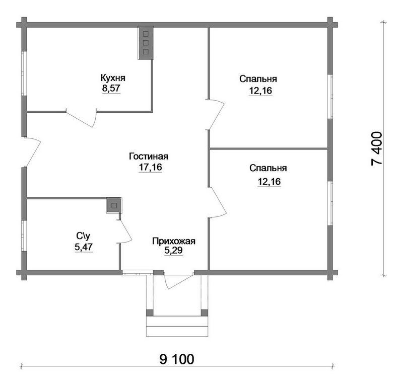 Каштан A-037. Проект простого одноэтажного дома с двумя спальнями