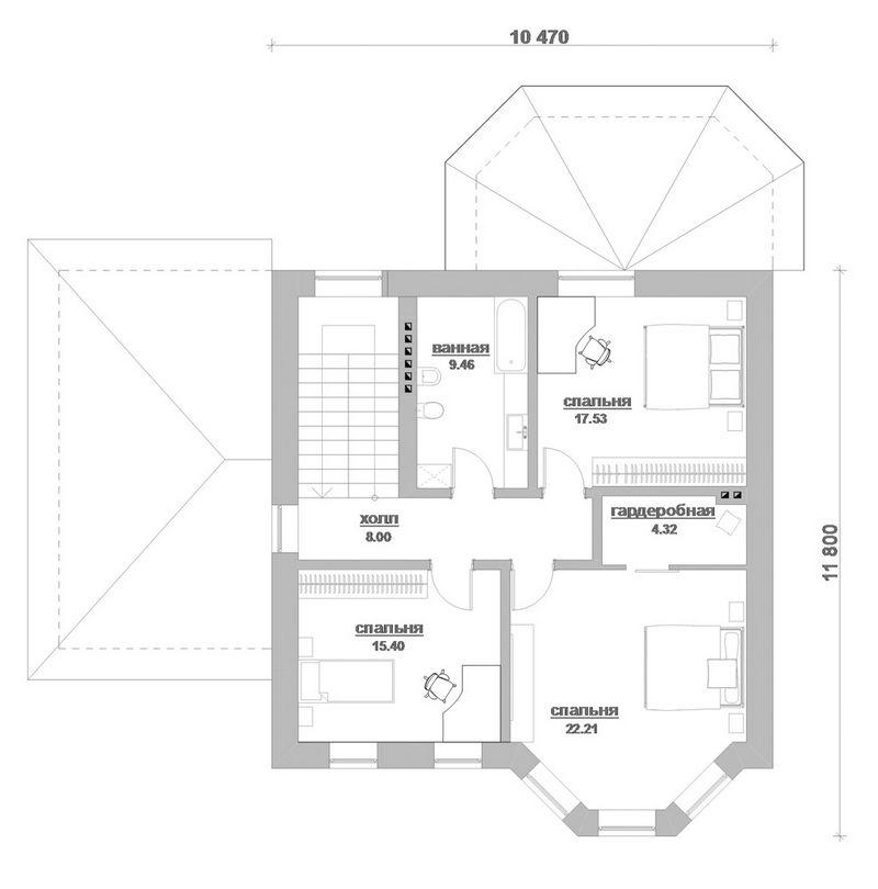 Кельт E-040. Проект двухэтажного коттеджа с цокольным этажом и террасой