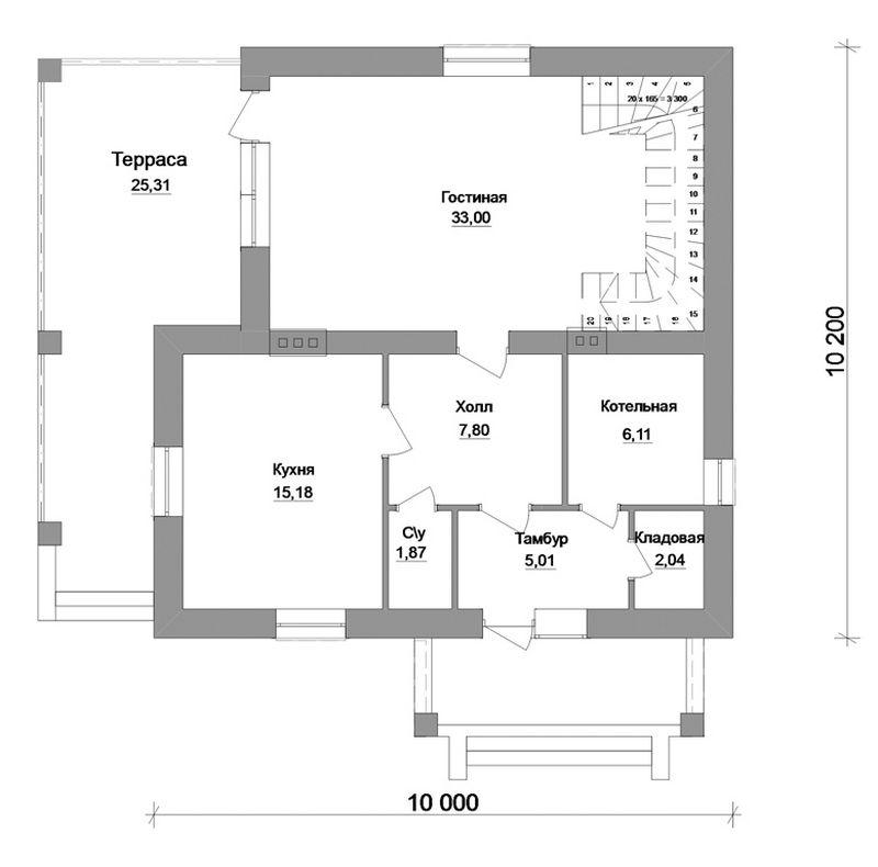 Кентавр C-119. Проект мансардного дома на 3 спальни с большой террасой