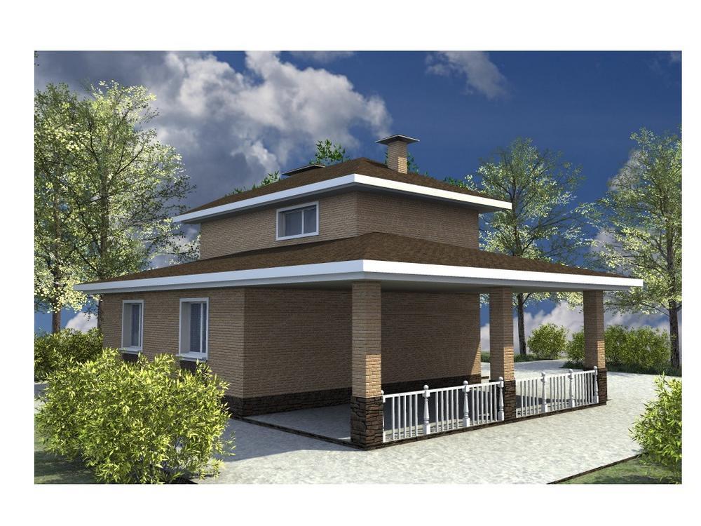Кларенс A-077. Проект двухэтажного дома на 3 спальни, с навесом для авто
