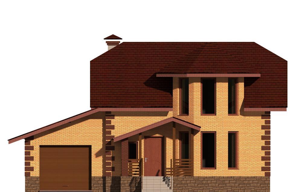 Кларк D-051. Проект одноэтажного коттеджа с мансардой, на три спальни, с гаражом и террасой