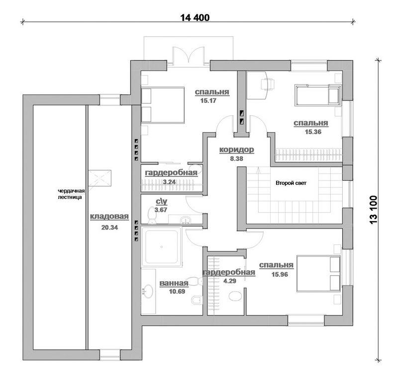 Клевер D-078. Проект 2-этажного фахверкового дома на 4 спальни, с гаражом