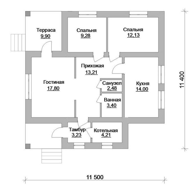 Кочевник A-039. Проект необычного 1-этажного дома на 2 спальни, с террасой