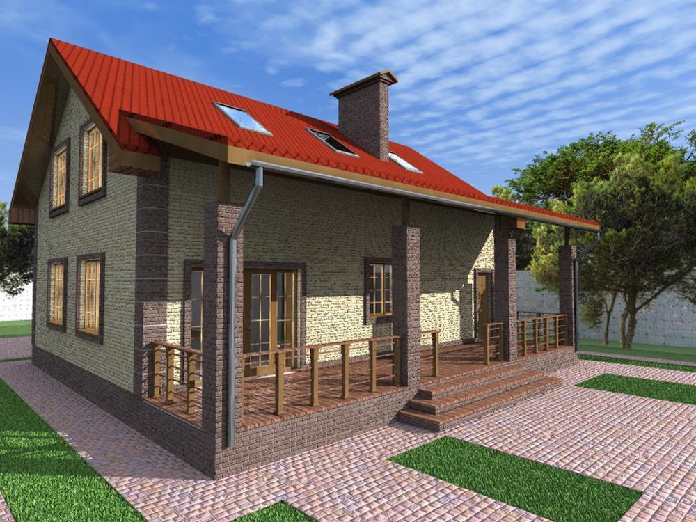 Кодекс C-169. Проект мансардного коттеджа, на 3 спальни, с гаражом и большой террасой