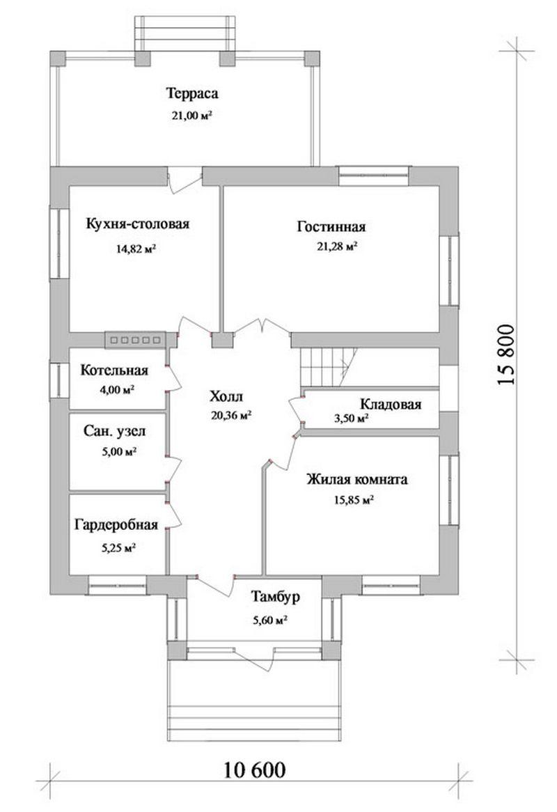 Командор D-040. Проект двухэтажного коттеджа на 5 спален, с террасой