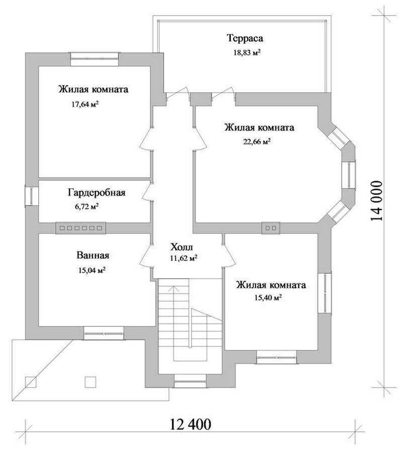 Консул D-045. Проект красивого загородного коттеджа на 4 спальни, с двумя террасами